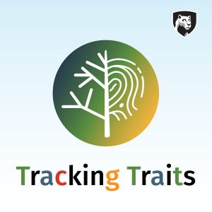 Tracking Traits logo with a branching tree and fingerprint