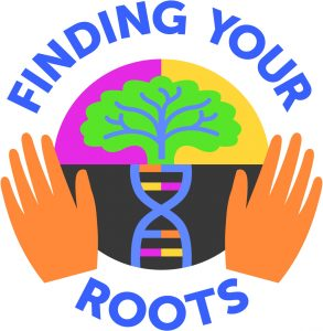 Finding Your Roots logo showing hands, DNA, and a tree